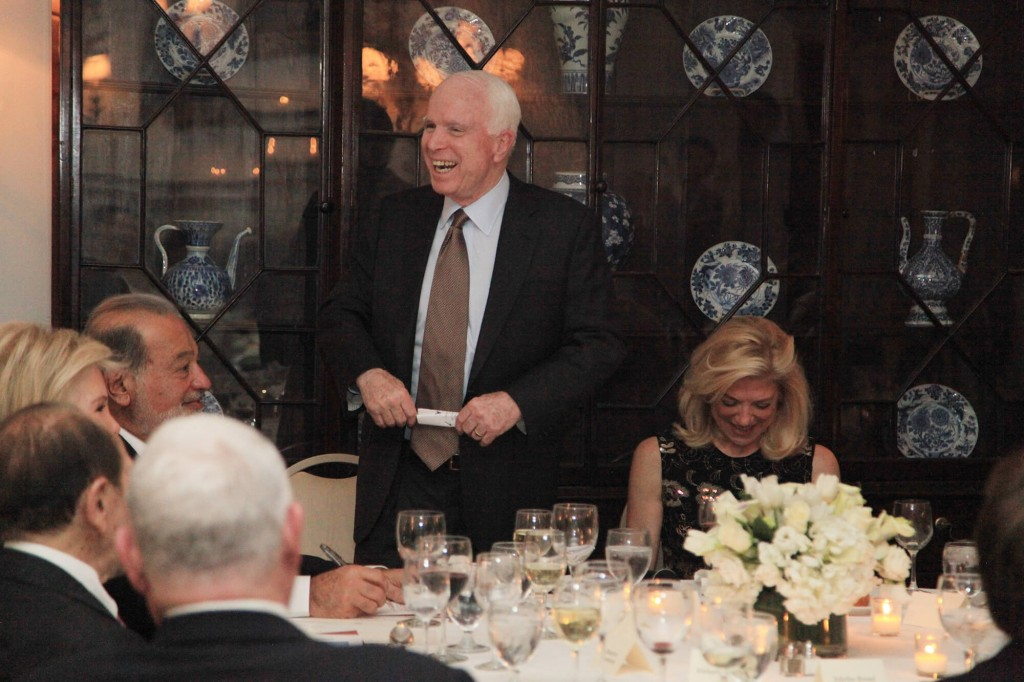 McCain with Lynn Forester de Rothschild (right). Click to enlarge
