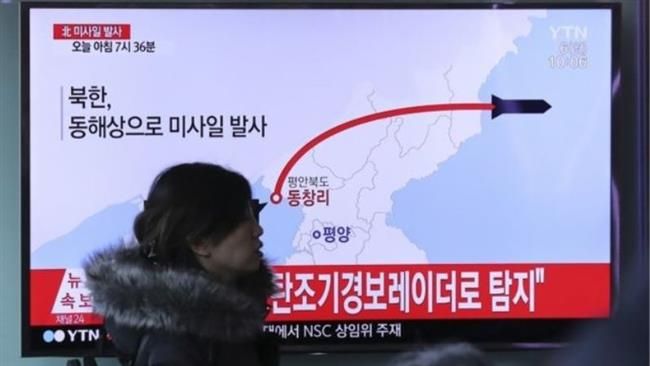 TV screen broadcasts news report on a North Korean missile launch at a railway station in Seoul, South Korea. Click to enlarge
