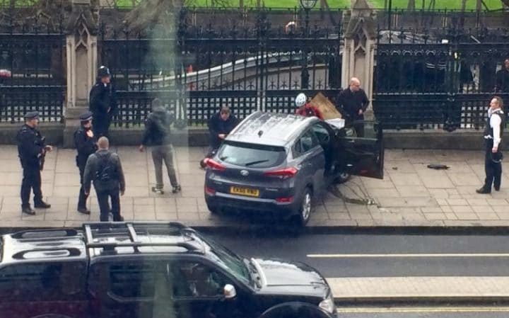 The attackers Hyundai car ploughed into pedestrians on Westminster Bridge