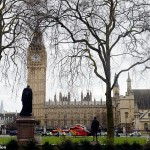 An Air Ambulance outside the Palace of Westminster, London, after sounds similar to gunfire have been heard close to the Palace of Westminster. A man with a knife has been seen within the confines of the Palace, eyewitnesses said.
