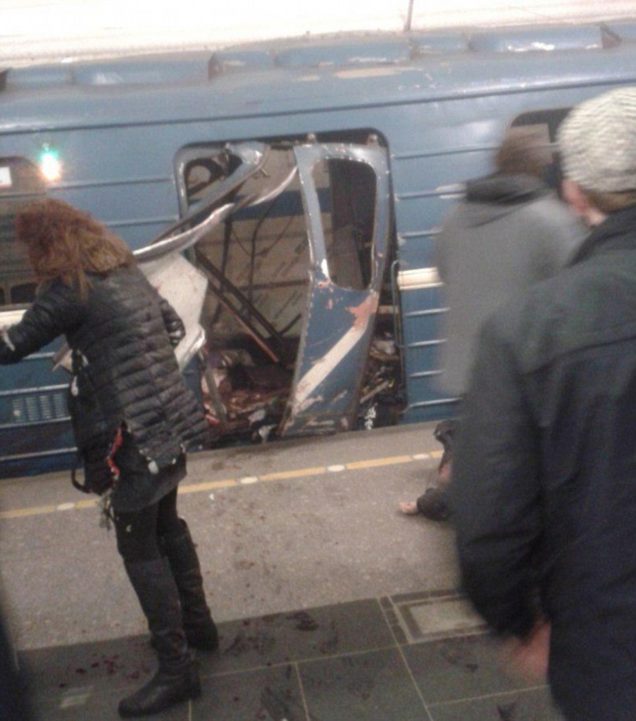 Blast ripped through carriage on the St Petersburg metro. Click to enlarge