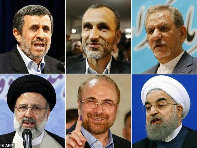 The main contenders for Iran's upcoming presidential elections: (top L-R) Mahmoud Ahmadinejad, Hamid Baghaie, Eshaq Jahangiri (bottom L-R) Ebrahim Raisi, Mohammad Bagher Ghalibaf, Hassan Rouhani. Click to enlarge