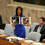 Nikki Haley shows photos of Assad's alleged victims at the Security Council. Click to enlarge