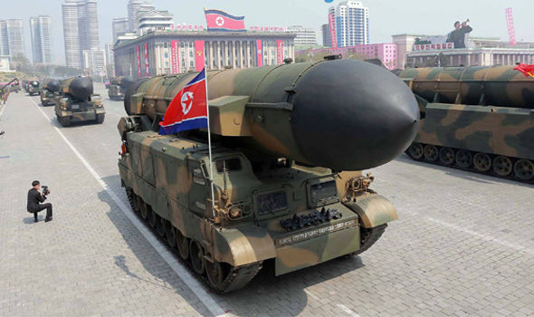 North Korean missiles on diplay at the Day of the Sun parade in Pyongyang on Saturday Saturday April 15, 2017. Click to enlarge