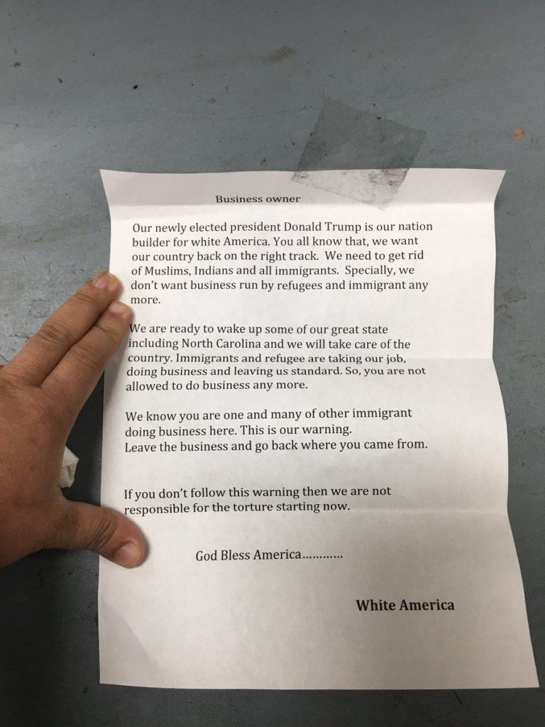 "Note signed ""White America"". Click to enlarge"