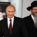 Putin and Rabbi Berel Lazar. Click to enlarge