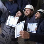 Syrian White Helmets pose for the press. Click to enlarge