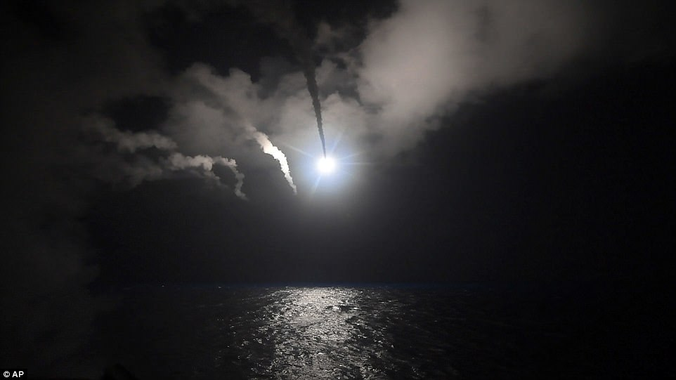 US cruise missile launched at the al Shayrat air base near Homs in Syria. Click to enlarge