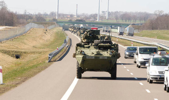 US stryker armoured vehicles make their way from Germany to Orzysz, Poland
