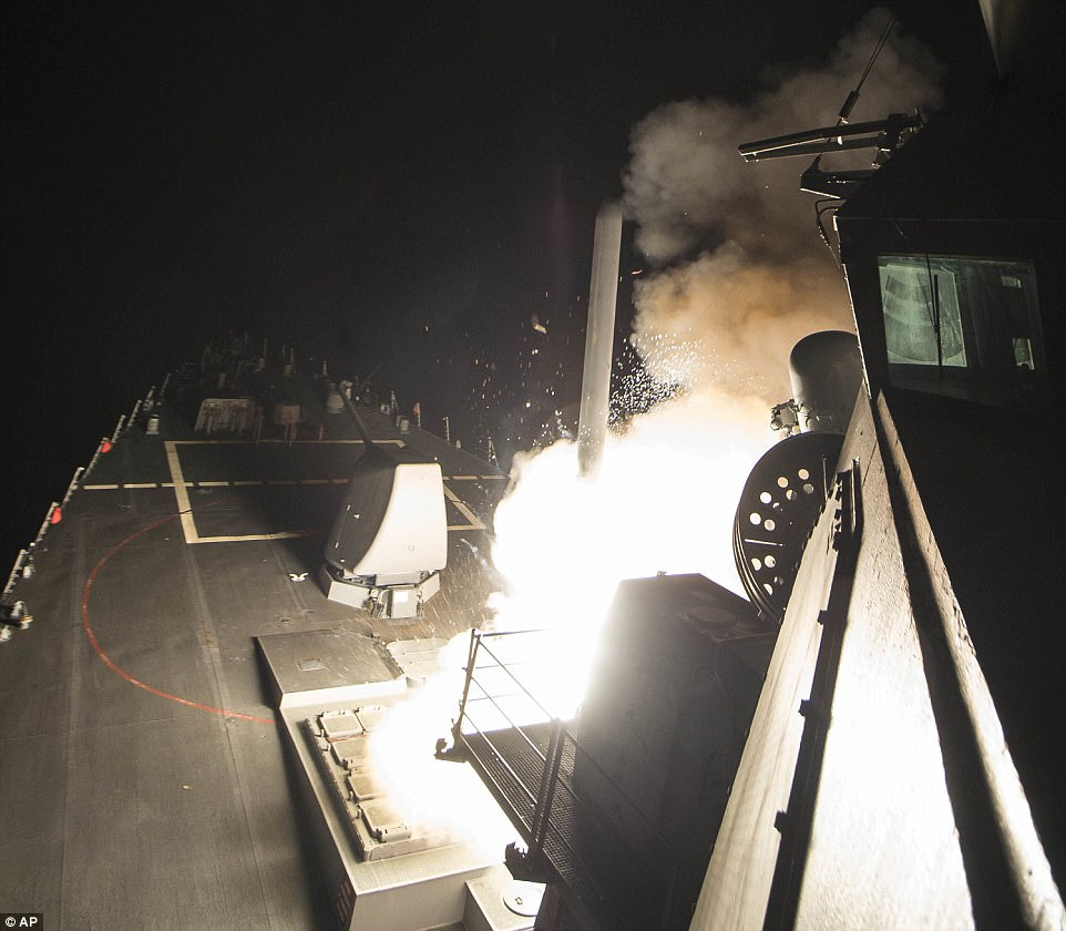USS Ross launching Tomahawk cruise missile at the Syrian air base. Click to enlarge