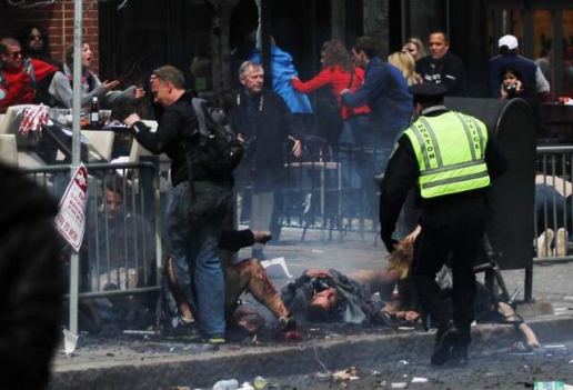 Notice that in the aftermath of the explosion none of the two women and elderly Jewish man are anywhere near the barricade where the brown bag with the bomb were planted. Click to enlarge