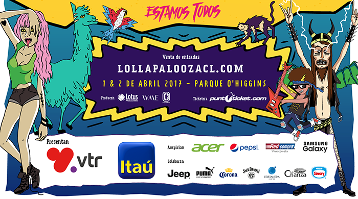 In this ad, you get a nice glimpse into what Lollapalooza is about. A girl is doing the one-eye sign while sticking out a lizard-like tongue; A guy trying hard to be the devil … and a whole lot of corporate sponsors. Click to enlarge