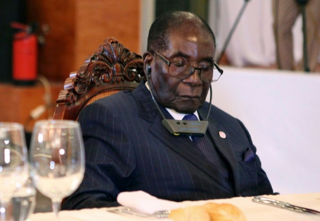 "According to his official spokesman Mugabe was not sleeping, he was just ""resting his eyes."" Click to enlarge"