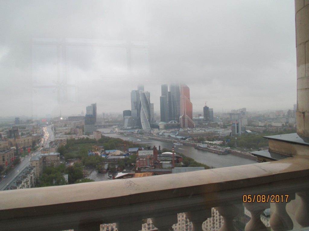 View from my hotel on a grey and misty Moscow day. Click to enlarge