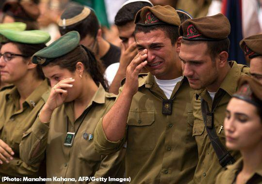 Israeli soldiers weep after Lebanon. Click to enlarge