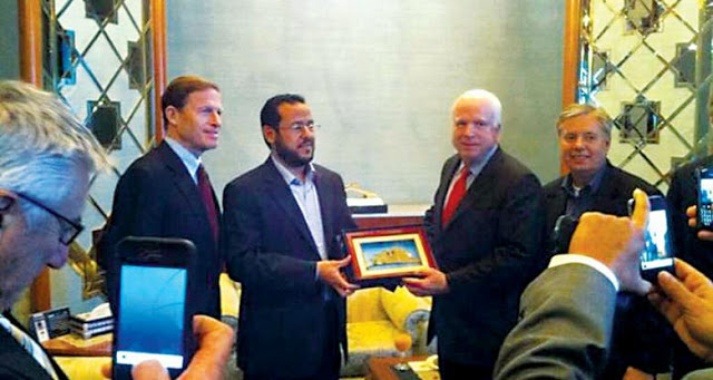 Senator John McCain and Belhaji. Click to enlarge
