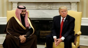U.S. President Donald Trump meets with Saudi Deputy Crown Prince and Minister of Defense Mohammed bin Salman in the Oval Office of the White House in Washington, U.S., March 14, 2017. Click to enlarge