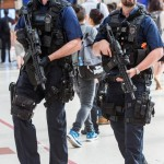 "Armed police at Victoria Station, London. Keeping the public safe from ""terror"" and ""hate crime"", but not necessarily from rape, burglary and common assault. Click to enlarge"