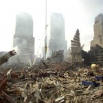 "Rescue workers sift through debris at the scene of what was once the plaza area of the World Trade Center twin towers, September 24, 2001. It would take a ""miracle"" to find anyone alive in the ruins of the World Trade Center and relatives of more than 6,000 missing people would soon be able to apply for death certificates, Mayor Rudy  Giuliani said on Monday. REUTERS/John Roca/New York Daily News/pool  HK - RTRN8RF"