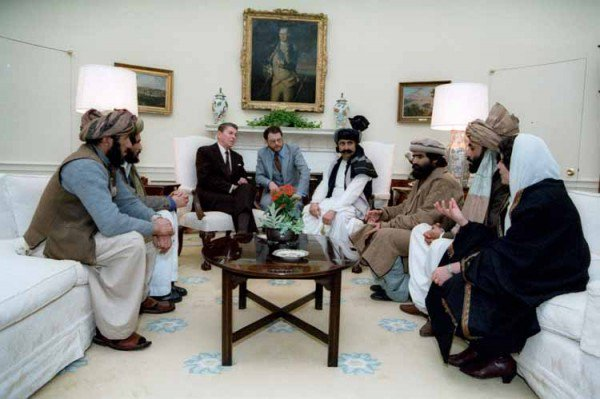 President Reagan meets with Mujahideen leaders from Afghanistan in the White House. Click to enlarge