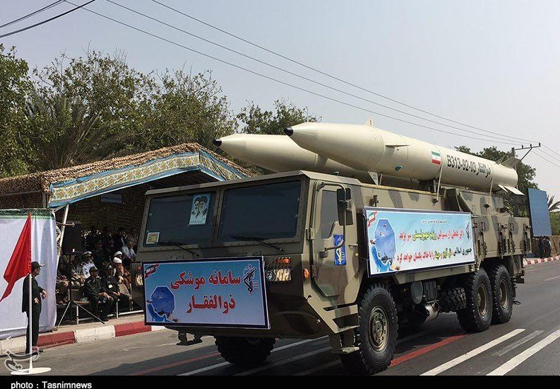 Zolfaqar missile unveiled at a parade in Tehran last year. Click to enlarge