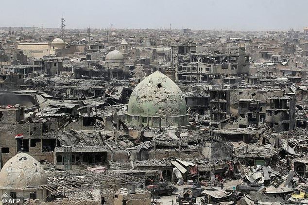 A picture taken July 9 2017 shows the destruction in Mosul's old city. Click to enlarge