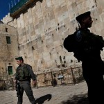 Israeli police stand guard on a site known to Jews as the Tomb of the Patriarchs, and to Muslims as the Ibrahimi Mosque, in Hebron. Click to enlarge