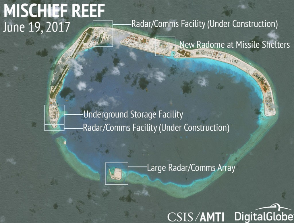 China has been constructing extensive missile and radar installations on the newly reclaimed islands in the South China Sea. Click to enlarge