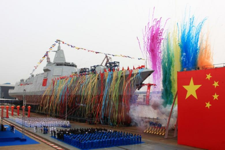 China's new type of domestically-built destroyer, a 10,000-tonne warship, is seen during its launching ceremony at the Jiangnan Shipyard in Shanghai, China June 28, 2017. REUTERS/China Stringer Network