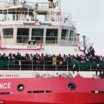 The Italian rescue ship Vos Prudence arrives in the port of Salerno carrying 935 migrants, including 16 children and 7 pregnant women on Friday