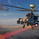 Artists impression of an integrated laser on a helicopter in action. Click to enlarge