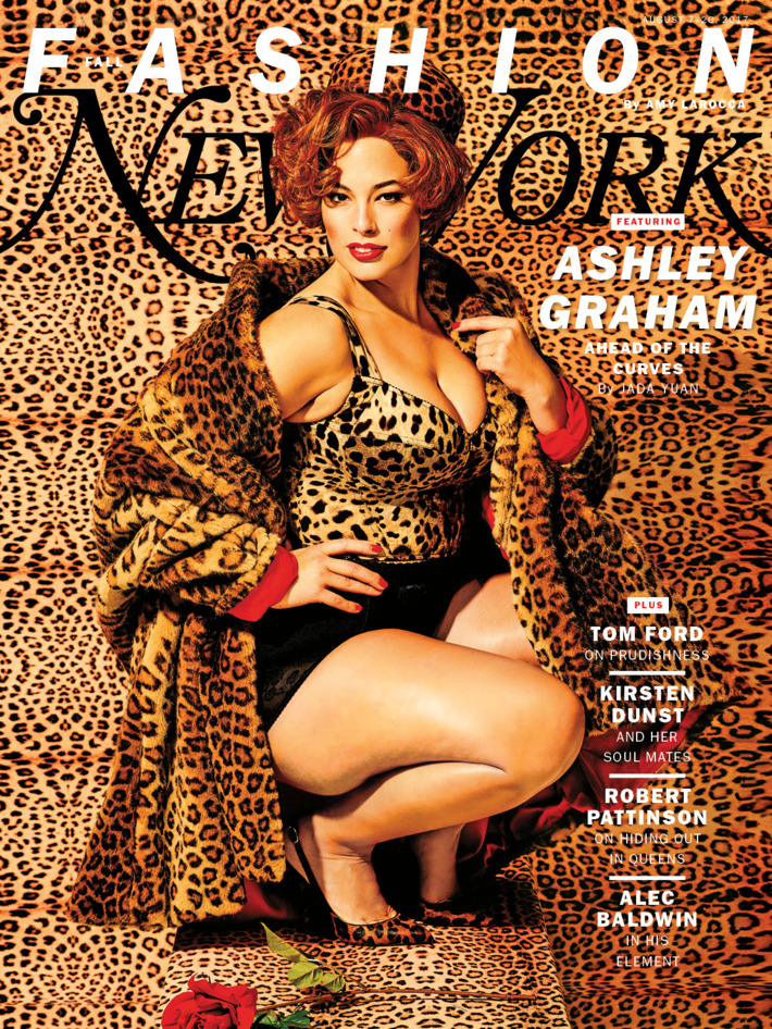 Supermodel Ashley Graham was featured in New York magazine with a photoshoot that is 100% about Beta Kitten programming. If you know a bit about the symbolism relating Beta Programming (aka Sex Kitten Programming), you will instantly recognize it here. For starters, the magazine cover is 100% dedicated to feline prints (used to identify Beta Kittens in the Monarch system). Click to enlarge