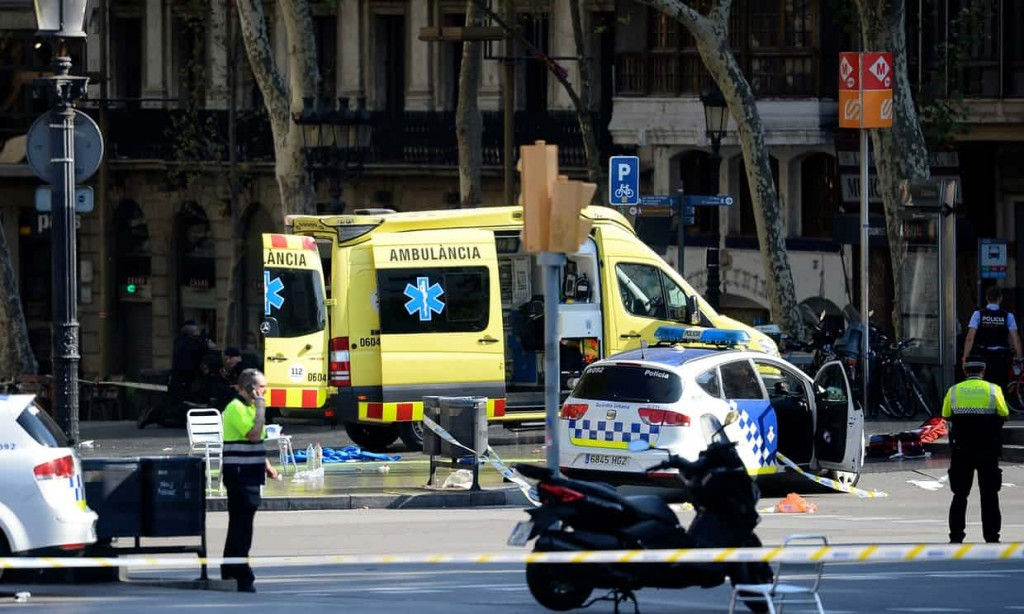 Emergency services at the scene of the crash on Las Ramblas Barcelona
