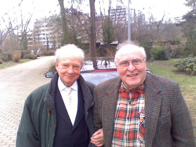 Ernst Zündel (above, right), with his attorney, Dr. Herbert Schaller, March 1, 2010, just moments after he emerged from Mannheim prison for the first time in five years. Click to enlarge