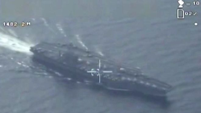 Photo taken by Iranian drone over U.S. carrier. Click to enlarge