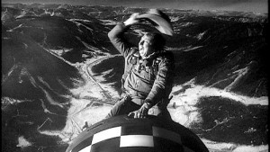 "A scene from ""Dr. Strangelove,"" in which the bomber pilot (played by actor Slim Pickens) rides a nuclear bomb to its target in the Soviet Union. Click to enlarge"