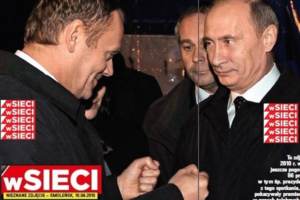 Polish PM Donald Tusk and Putin at the crash site, April 10, 2010. Tusk evidently wants a fist bump. Putin's expression says it all