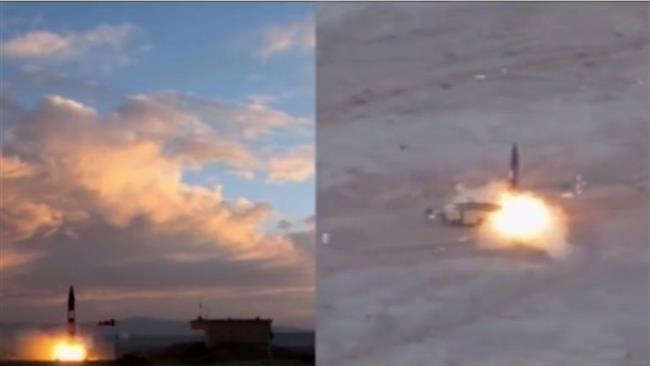 Imagery from an Iranian TV broadcast on Sept 22 shows successful test of Iran's new Khorramshahr missile. Click to enlarge