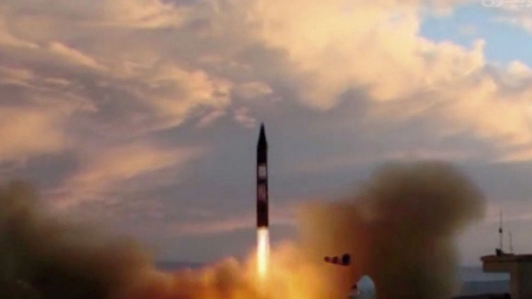 A still from Iranian television footage shown on 23 September shows a Khorramshahr ballistic missile being launched from a location that could be identified as being east of the Semnan space and missile facility. Source: IRIB. Click to enlarge