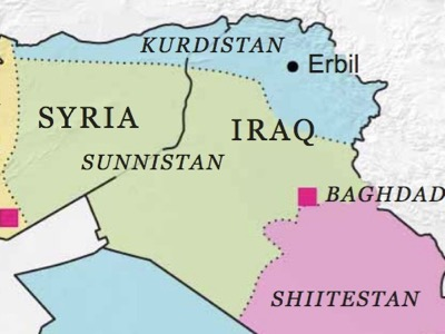 This map was published by Robin Wright nine months before the offensive by Daesh into Iraq and Syria. According to this Pentagon researcher, it rectifies the map published in 2005 by Ralf Peters for the reshaping of the Greater Middle East.
