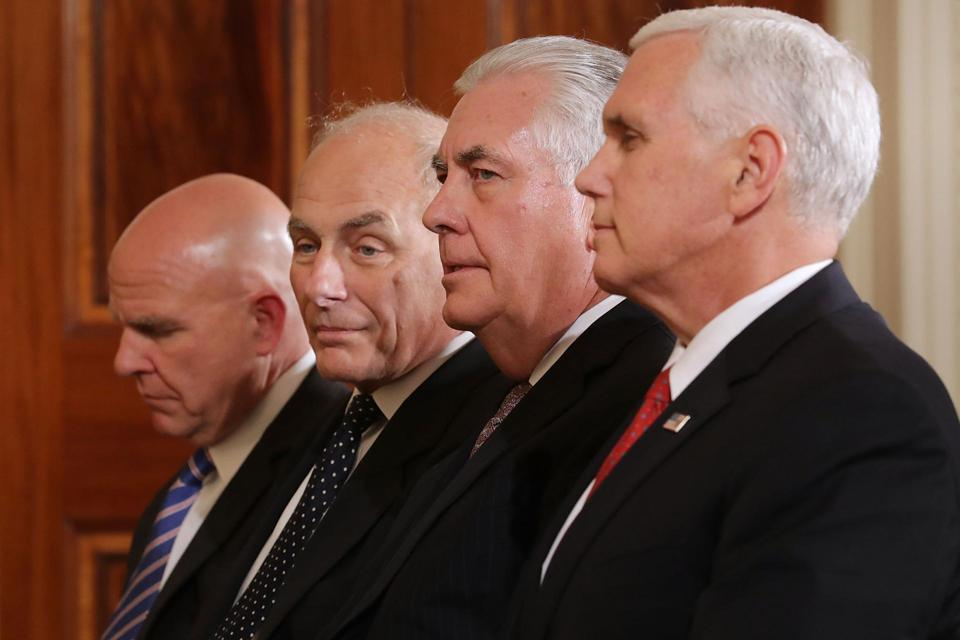 National Security Adviser H.R. McMaster and White House chief of staff John Kelly watched a presidential appearance alongside Secretary of State Rex Tillerson and Vice President Mike Pence in August. Click to enlarge