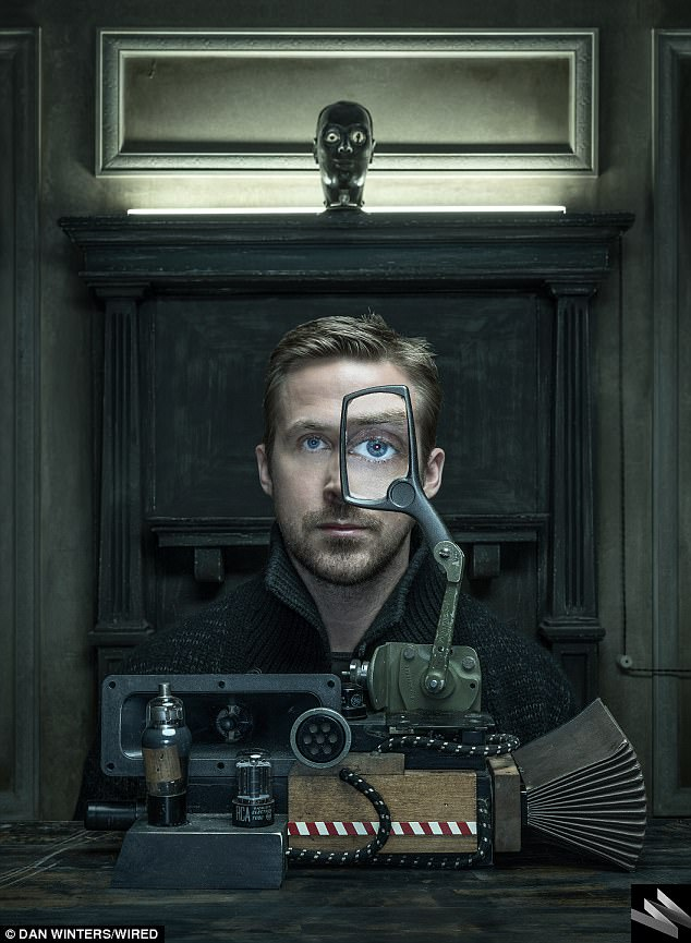 Ryan Gosling stars in the upcoming movie Bladerunner 2049. Wired Magazine published an article promoting that movie and this is the main picture of the article. One-Eye. In your face. Tell a friend. Also, that robot head above Ryan has something going on in the right eye as well. Click to enlarge
