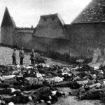 A total of 350 Czech residents of the village of Lidice were massacred in reprisal for the the assassination of Reinhard Heydrich in June 1942 by British agents.