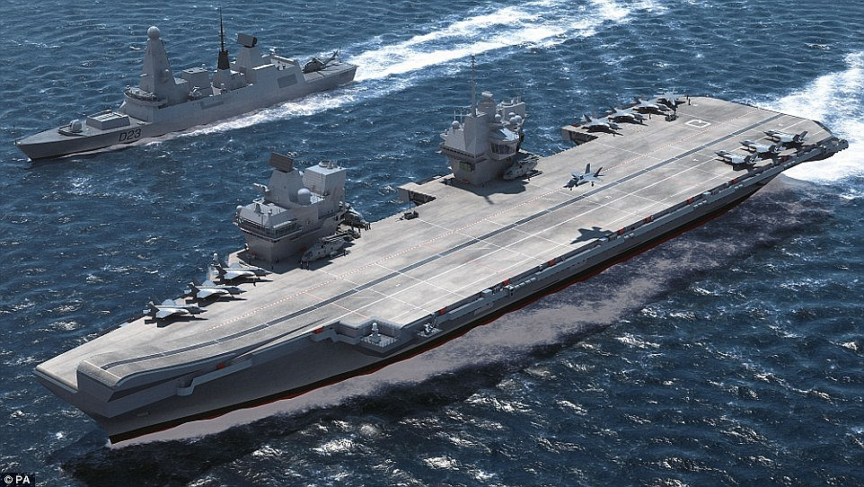 An artists impression of HMS Queen Elizabeth in operational service, accompanied by a Type 45 guided missile destroyer. Click to enlarge