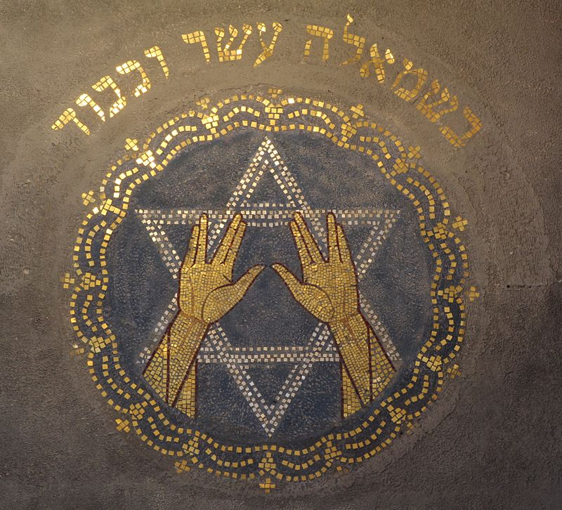 "The Vulcan Salute hand sign is symbolic in itself as it is based on the Priestly Blessing performed by Jewish Kohanim. The sign represents the Hebrew letter Shin (ש), which has three upward strokes similar to the position of the thumb and fingers in the salute. The letter Shin here stands for El Shaddai, meaning ""Almighty (God)"", as well as for Shekinah and Shalom. Therefore, placing an all-seeing eye into that symbol gives this movie poster a profound esoteric meaning that most will completely overlook. Click to enlarge"