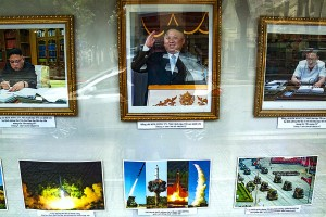 Photo display outside the North Korean Embassy in Hanoi. Click to enlarge