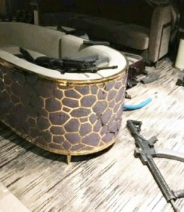 Snipers nest: some of Stephen Paddock's guns in the Mandalay Bay hotel room. Click to enlarge