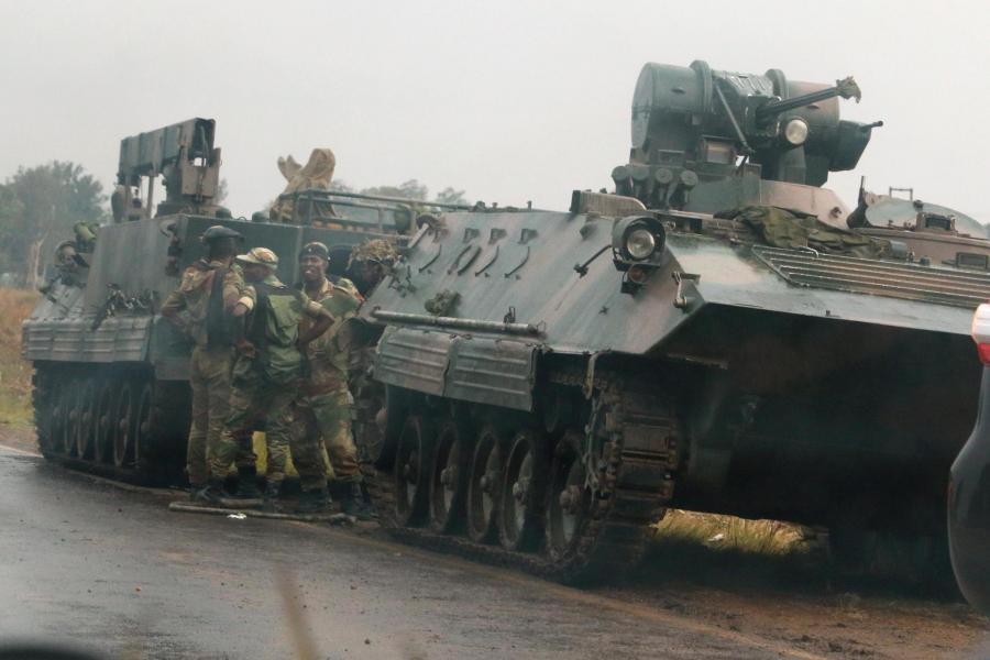 soldiers and military vehicles just outside Harare