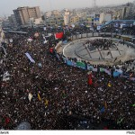 Demonstraters gather in support of Iranian Republic. Click to enlarge