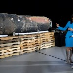 America's UN Ambassador Nikki Haley with alleged Iranian missile remains. Click to enlarge